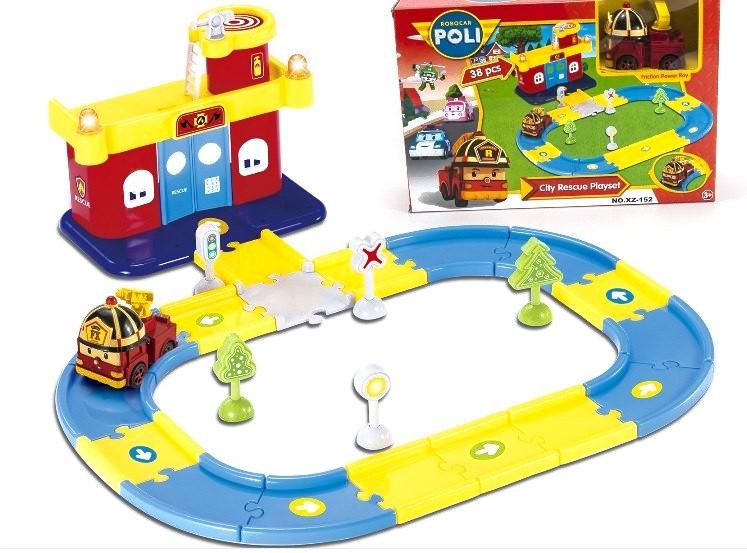 Игровой набор Автопарк Роя (станция, трек + машинка Robocar Poli)
