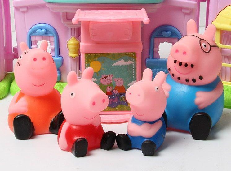 Джордж мама свинка папа свин встречают людей