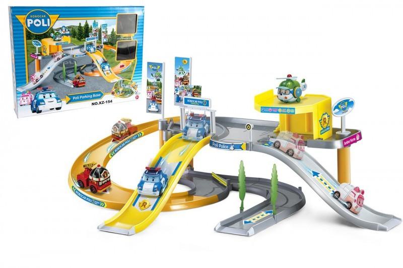 База Поли игровой набор Робокар (мега-трек с парковкой + 2 машинки Robocar Poli)