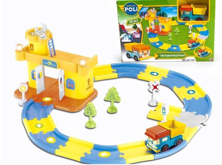 Игровой набор Автопарк Инженера (станция, трек + машинка Robocar Poli)